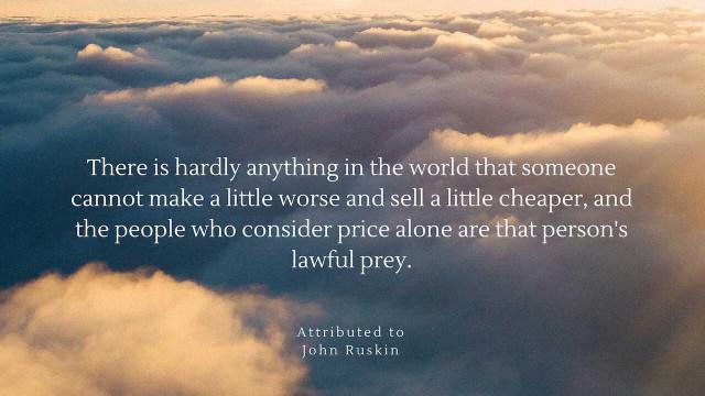 John Rusking: Price alone